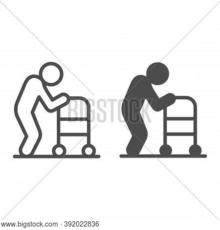 Elderly Man With Paddle Walker Line And Solid Icon, Medical Concept, Disabled Person With Walker Sig
