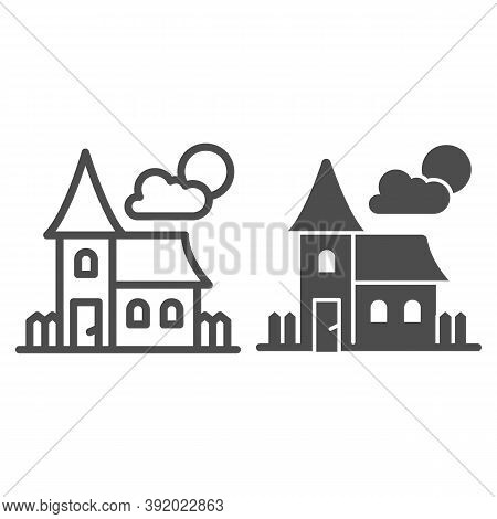 Abandoned Old House Line And Solid Icon, Halloween Concept, House At Full Moon Sign On White Backgro