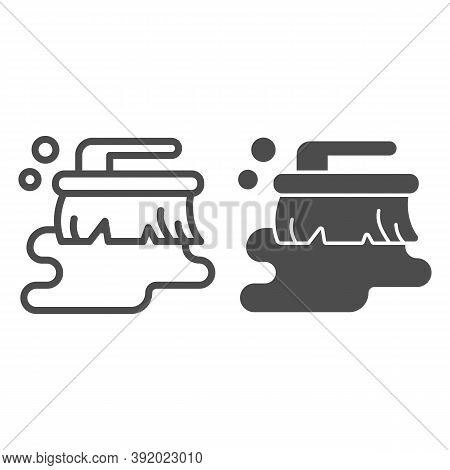 Wet Brush And Puddle Line And Solid Icon, Cleaning Service Concept, Wet Cleaning Sign On White Backg