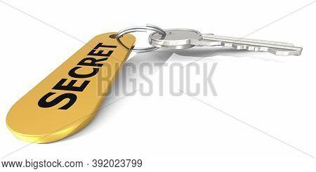 Secret Label Attached To The Keys, 3d Rendering
