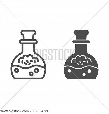 Potion In Scale With Stopper Line And Solid Icon, Halloween Concept, Mana In Bottle Sign On White Ba