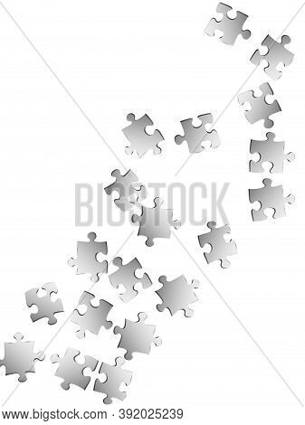 Abstract Teaser Jigsaw Puzzle Metallic Silver Parts Vector Illustration. Top View Of Puzzle Pieces I