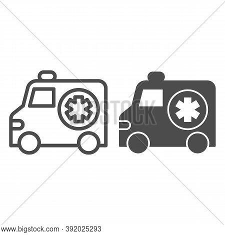 Ambulance Car Line And Solid Icon, Medical Concept, Emergency Transport Sign On White Background, Em