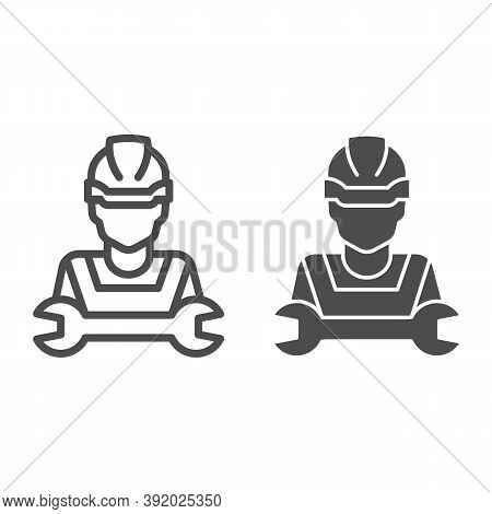 Man In Helmet And Wrench Line And Solid Icon, Repair Concept, Worker With Tool Sign On White Backgro