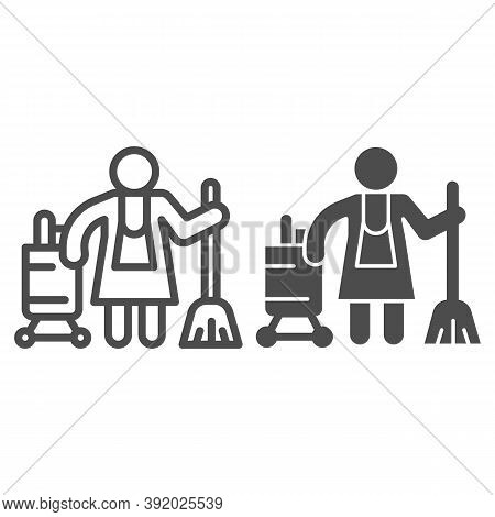 Hotel Maid Line And Solid Icon, Cleaning Service Concept, Cleaning Lady Sign On White Background, Ho