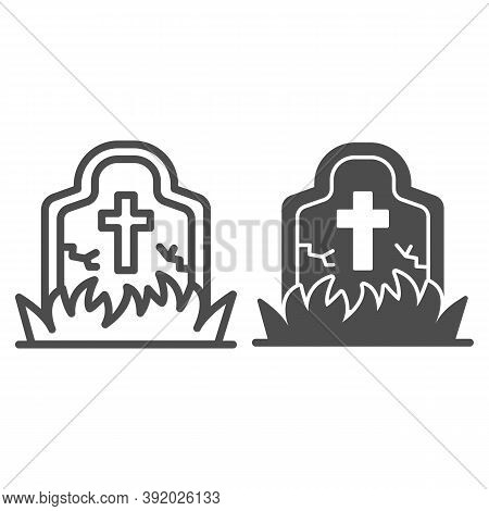 Abandoned Grave Line And Solid Icon, Halloween Concept, Grave Overgrown With Grass Sign On White Bac
