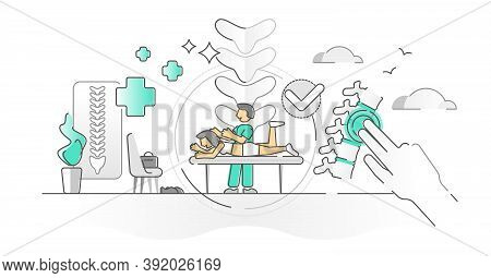 Chiropractor Health Treatment With Spine Massage Monocolor Outline Concept. Medical Backache Pain Re