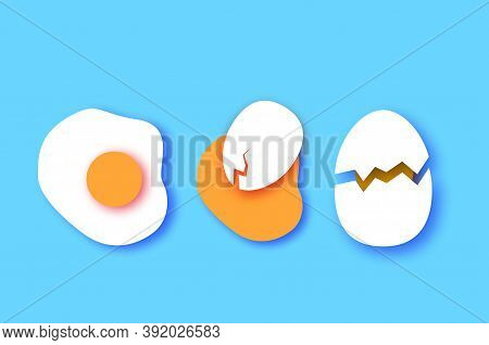 Eggs In Shell, Crack, Half. Broken Egg And Yolk. Farm Products. Fast Food. Natural Product. Omelet P