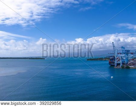 Fort-de-france, Martinique, France - February 08, 2013: Dock And Cruise Ship Port With The Waterfron