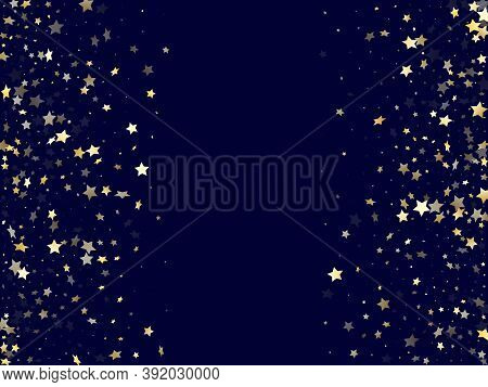 Gold Gradient Star Dust Sparkle Vector Background. Glowing Gold Star Sparkles Dust Elements On Dark