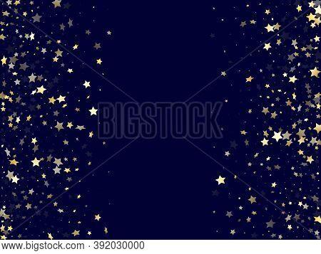 Gold Gradient Star Dust Sparkle Vector Background. Glowing Gold Star Sparkles Dust Elements On Dark