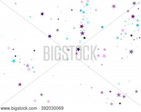 Flying Stars Confetti Holiday Vector In Cyan Blue Violet On White. Surprise Party Decoration. Cool F
