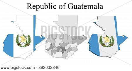 Flag Of Guatemala On Map And Map With Regional Division