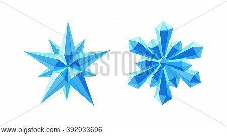 Crystal Star And Snowflake With Sparkling Facets. Shimmering Set With Blue Snowflake And Gem Star Ma