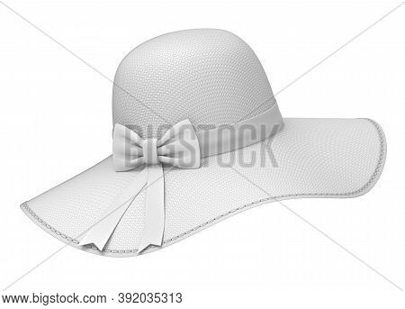 Clay Render Of  Woman Sun Hat With Bump Texture - 3d Illustration