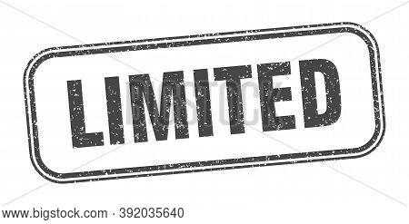 Limited Stamp. Limited Square Grunge Sign. Label