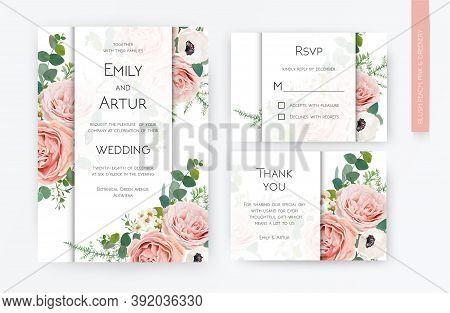Floral Wedding Invite Card, Rsvp, Thank You Card Design. Blush Peach, Lavender Rose, White Anemones,
