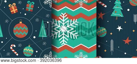 Set of 3 Seamless Bright Fun Christmas Patterns.Christmas pattern with Christmas tree, gift boxes and other decorations. Holiday seamless pattern. Merry Christmas and Happy New Year.
