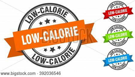 Low-calorie Stamp. Round Band Sign Set. Label