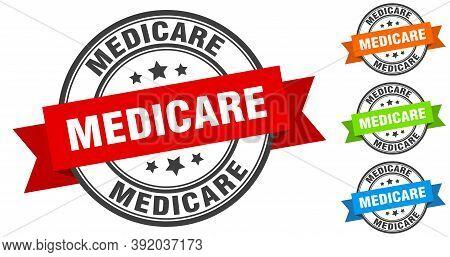 Medicare Stamp. Round Band Sign Set. Label