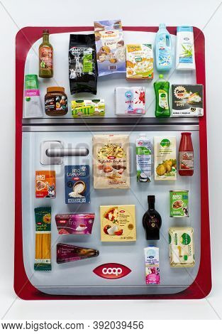 Bologna / Italy - October 28, 2020: Fridge With Various Original Coop Products. Coop Is The Biggest