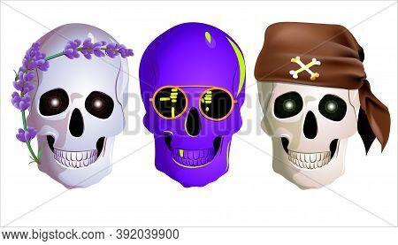 Vector Illustration Of Variants Of A Human Skull. Creative Party Masks.