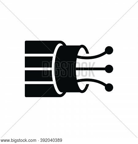 Black Solid Icon For Wire Electric Cable Flexible Connection Circuit Conduit Current Danger Electric