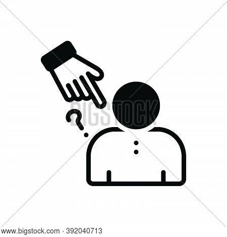 Black Solid Icon For Blame Defect Flaw Fault Blemish Harassment Judgement Shame Racism