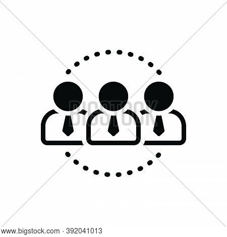 Black Solid Icon For Set Conglomeration Group Cluster Team Assembly