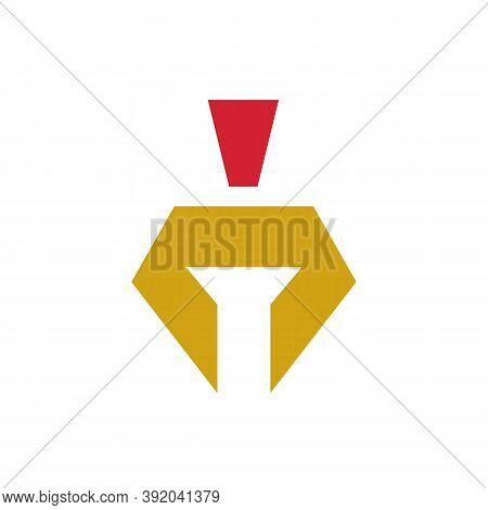 Trojan War Helmet Logo Design, Spartan Or Gladiator Symbol, Vector Illustration