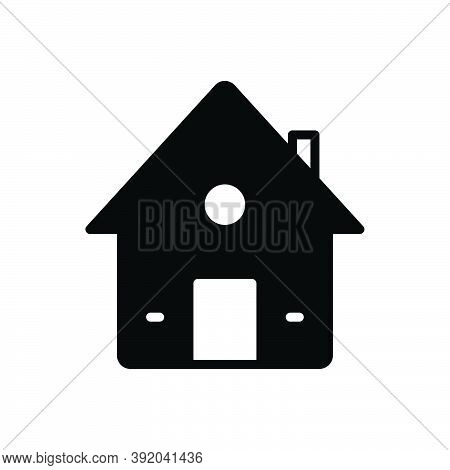 Black Solid Icon For House Premises Dwelling Residence Home Building Architecture Mortgage Property