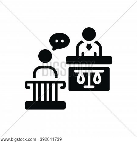 Black Solid Icon For Witness Testify Authority Court Courthouse Crime Desk Harassment Judgement Just