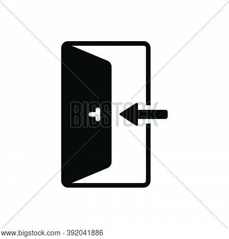 Black Solid Icon For Enter Knob Door Open Door-way Entering Entrance Arrow Go-in Come-in