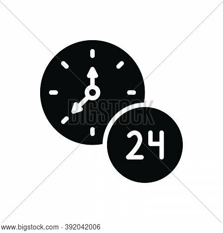Black Solid Icon For Hour Twenty-four-hours Clock Time Day Service Helpline Sign