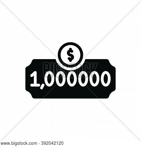 Black Solid Icon For Million Cheque Fortune Prize Bonus Dollar Finance Income Money