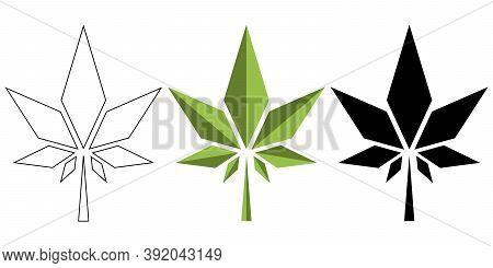 Watercolor Cannabis Leaf Medical Design. Vector Sketch Illustration. Isolated Leaves. Botanical Art.