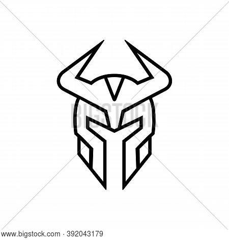 Warrior Helmet Logo Icon, Viking Helmet Symbol Vector, Line Art Style Illustration