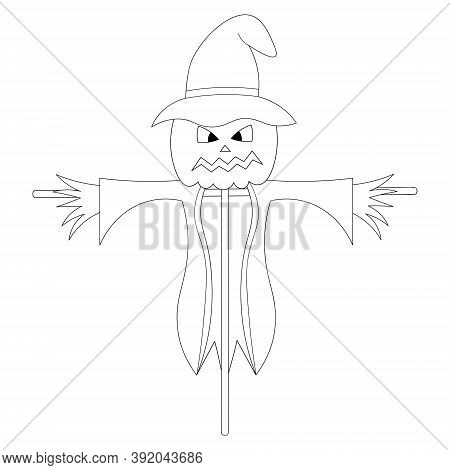 Scarecrow. Sketch. Ominous Grimace. Halloween Symbol. Scarecrow In Rags And A Hat. Vector Illustrati
