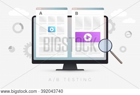 Ab Testing Flat Vector Concept Illustration. Split Testing And A-b Comparison Web Site Page. Online
