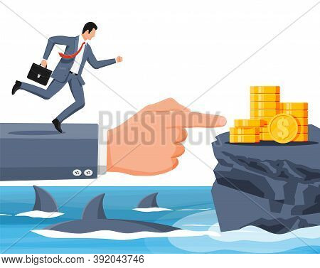 Businessman Running On Hand Over Shark In Water. Business Man In Suit Jump Between Gap. Obstacle On