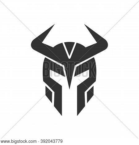 Viking Warrior Helmet Logo Icon, Medieval Warrior Armor Symbol, Black Silhouette Illustration - Vect