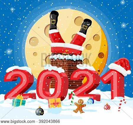 Santa Claus With Gifts Stuck In House Chimney, Gift Boxes In Snow. Happy New Year Decoration. Merry