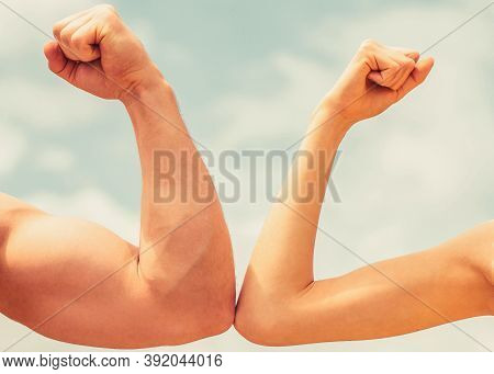Rivalry Concept. Rivalry, Vs, Challenge, Strength Comparison. Sporty Man And Woman. Muscular Arm Vs