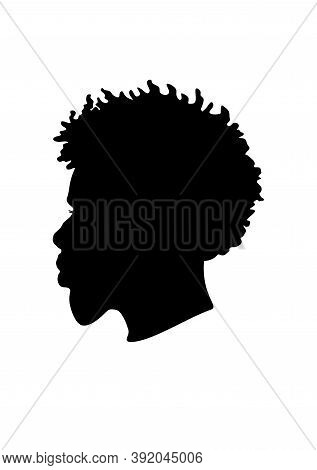 Black Afro African American Male Portrait Face Vector Silhouette Of A Hairstyle With Curly Hair Drea