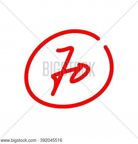 70 Exam Score, Seventy Test Score Illustration, Isolated On White Background - Vector