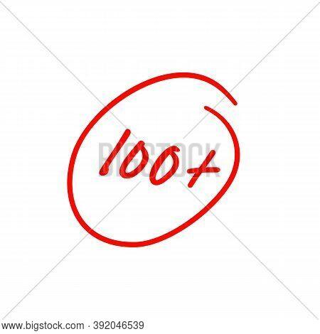 100 Plus Illustration, Best Exam Score, One Hundred And Plus Symbol