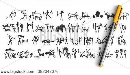 Stone Age Doodle Set. Collection Of Pencil Pen Ink Hand Drawn Sketches Templates Patterns Of Prehist