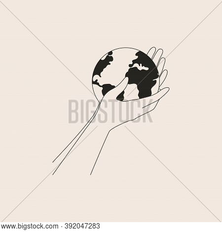 Human Arms Holds Small Earth With Care And Love. Strong Female Hands Support Planet. Vector Black An
