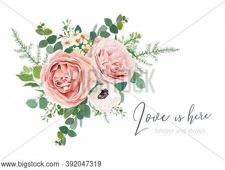 Vector Wedding Invite Card, Greeting, Banner Design. Blush Peach, Lavender Rose, Ivory Anemone, Wax