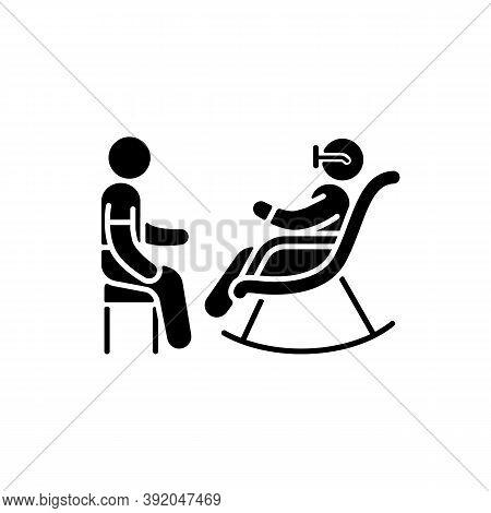 Senior Citizen Socializer Black Glyph Icon. Companions For Retired Persons. Providing Healthy Social